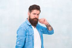 Hipster with beard and mustache wear denim shirt. Male beauty concept. Brutal handsome hipster man on grey wall. Background. Bearded man trendy hipster style stock photography