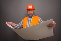 Hipster bearded builder Royalty Free Stock Images