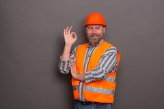 Hipster bearded builder Royalty Free Stock Image