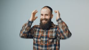 Hipster bearded celebrating success stock footage