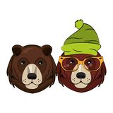 Hipster bears cool sketch. Two faces vector illustration graphic design stock illustration