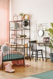 Hipster bedroom for teenage girl stock photo