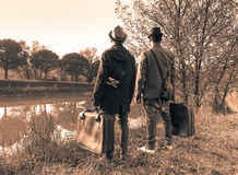 Hipster best friends are ready for adventure - Travel and fashion vintage concept - Black and white editing - Warm soft brown. Filtered look stock image