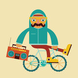 Hipster by bicycle with boombox Stock Images