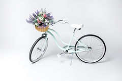 Hipster bicycle with flower basket Royalty Free Stock Images