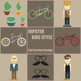 Hipster Bike Style People Flat Cartoon Stock Photo