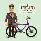 Hipster with bike Royalty Free Stock Photography