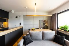 Hipster black and gray open space living and dining room interio. R with a stylish sofa and a concrete wall royalty free stock photos