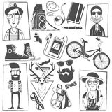 Hipster black icons composition print Royalty Free Stock Images