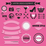 Hipster black and pink feminine design elements set Stock Image