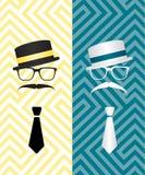 Hipster black and white illustration Stock Images