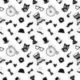 Hipster Black and White Seamless Pattern Stock Photos