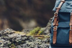 Hipster Blue Backpack, Front View Close-Up. Tourist Traveler Bag Stock Photos