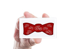 Hipster bowtie concept with vintage retro bicycles shapes Stock Photos