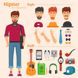 Hipster Boy Character Decorative Icons Set Royalty Free Stock Image