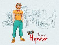 Hipster boy crowd Stock Photo