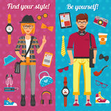 Hipster Boy And Girl Vertical Banners Stock Image