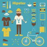 Hipster boy infographic concept background with ic Stock Photo