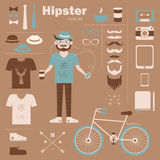 Hipster boy infographic concept background with ic Stock Photos