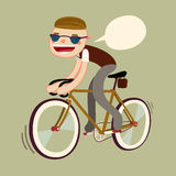 Hipster boy riding bike. Fixie bike rider. vector character isolated Stock Photography