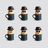 Hipster breakfast egg characters with mustache, beard, black bowler hat and glasses. Creative design holiday poster eggs Royalty Free Stock Photos