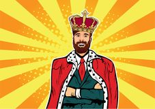 Hipster Business king. Businessman with beard and crown pop art illustration. Leader concept. Hipster Business king. Businessman with beard and crown. Man leader royalty free illustration