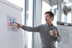 Hipster business man holding coffee Stock Photography