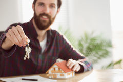 Hipster businessman applying for a mortgage Stock Photos