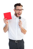 Hipster businessman giving a speech Royalty Free Stock Photo