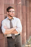 Hipster businessman outdoors Royalty Free Stock Images