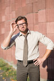 Hipster businessman outdoors Stock Photo