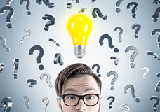 Hipster businessman, questions and light bulb Royalty Free Stock Images