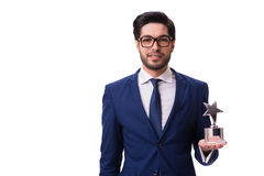 The hipster businessman receiving award isolated on white Stock Image