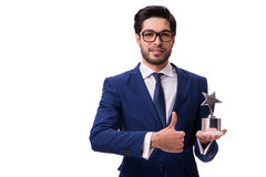 The hipster businessman receiving award isolated on white Royalty Free Stock Photo