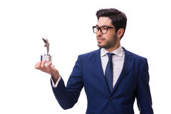 The hipster businessman receiving award isolated on white Stock Photos