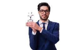 The hipster businessman receiving award isolated on white Stock Photo
