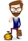 Hipster Businessman Standing on the Bag with Royalty Free Stock Image