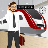 Hipster businessman waiting for the train Royalty Free Stock Photo