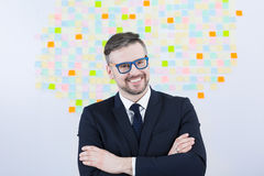 Hipster businessman at work Royalty Free Stock Photos