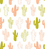 Hipster cactus seamless pattern. Cacti tribal boho background. Fabric print design. Royalty Free Stock Photography
