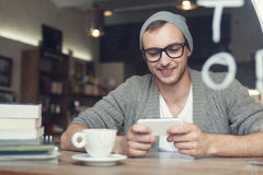 Hipster at cafe Royalty Free Stock Photo