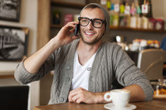 Hipster at cafe Stock Photos