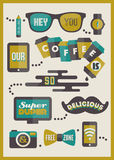 Hipster cafe menu. Set of design elements Royalty Free Stock Photos