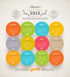 Hipster Calendar 2015. Template design - Calendar 2015 with hipster symbols Royalty Free Stock Photo