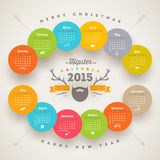 Hipster Calendar 2015. Calendar 2015 template with hipster style elements Royalty Free Stock Images