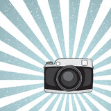 Hipster camera on grunge background Royalty Free Stock Photos