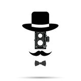 Hipster camera man ,Hat, Bowtie,Mustache . Vector illustration Stock Images