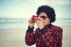 Hipster camera man Royalty Free Stock Image