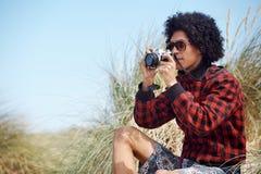 Hipster camera man Royalty Free Stock Photo