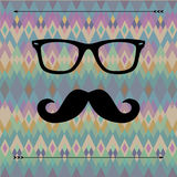 Hipster card. With glasses and mustaches Royalty Free Stock Photos